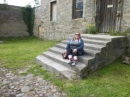 Sitting on the steps Lallybroch (Midhope Castle)